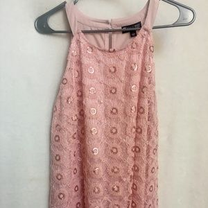 Pink Flower Lace Design Sleeveless Top Size Large